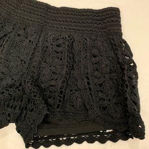 Crochet Black Two layered Shorts SZ Small